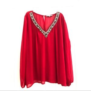Tops - Love Letter Collection Embellished Red Blouse